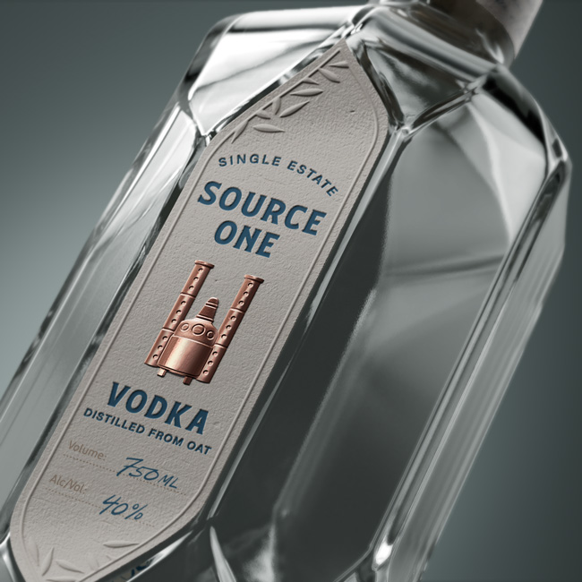 Дизайн этикетки, Дизайн упаковки, Алкоголь, Source One Vodka, AETHER NY